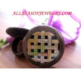 Wood with Golden Sea Shells Finger Rings Bali Design