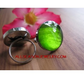 Resin and Shells Rings Stainless Bali
