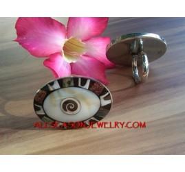 Bali Handmade Ring Steel with Seashells Resin