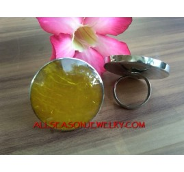 Yellow Resin Rings Stainless