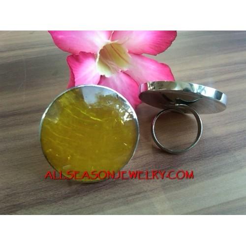 Yellow Resin Rings Stainless
