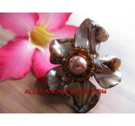 Shell Beads Ring Flower