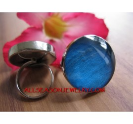 Blue Shells Ring Resin Fashion Women Accessories