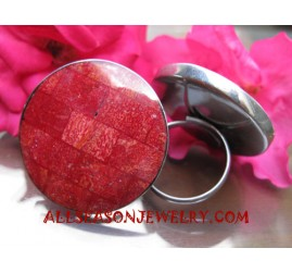 Red Coral Finger Ring Stainless Steel Handmade Bali