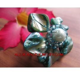 Beading Shells Ring Flowers
