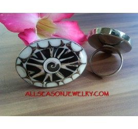 Resin Rings Stainless Shells Bali Design