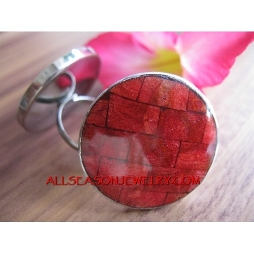 Red Coral Ring Stainless