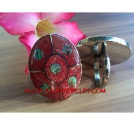 Red Coral Ring Stainles Shell Handmade Bali