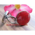 Red Coral Shells Rings Stainless Addustable