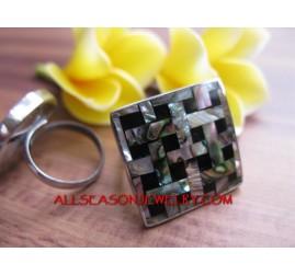 Organic Abalone Shell Rings Women Fashion