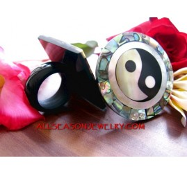 Shell Carving Paua Pearl Ying Yang Design