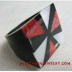 Resin Coral Ring with MOP
