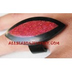 Resin Finger Rings Red Coral