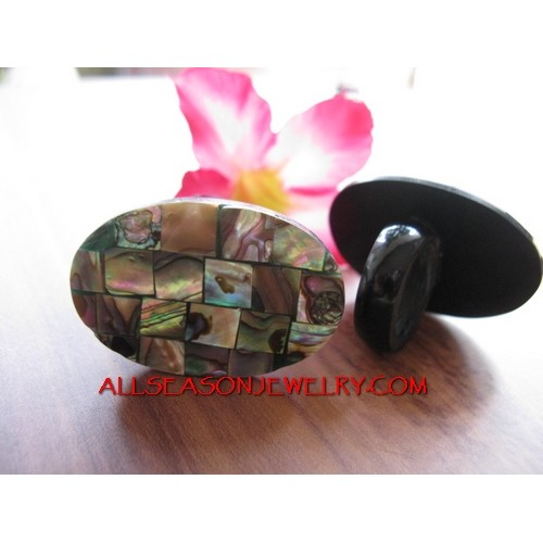 Oval Abalone Rings Fashion