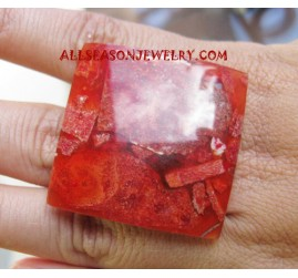 Red Stone Coral Rings