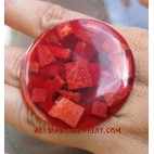 Resin Red Coral Rings