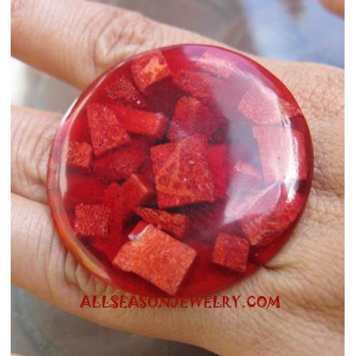 Resin Red Coral Rings