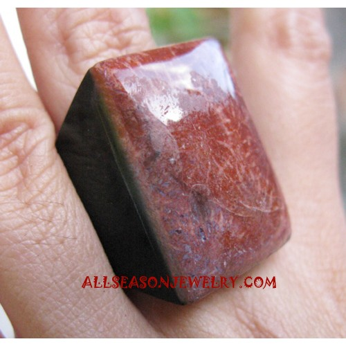 Brown Square Stone Rings