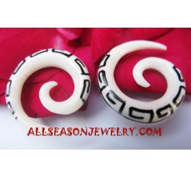 Bone Ears Faux Gauges Organic Tattoo Spiral Design