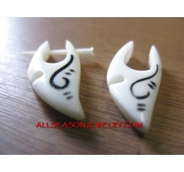 Bone White Earring Fake Gauge Tatto Hanger