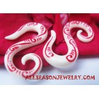 Bone Tribal Earring Tattoo Red Faux Gauges Handmade