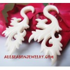 Hand Carvings Cow Bone Organic Earrings Fake Gauge