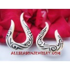 Earrings White Bone Tattoo Fake Gauge Tribal Handmade