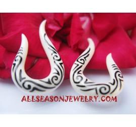 Earrings White Bone Tattoo Fake Gauge Tribal Handmade