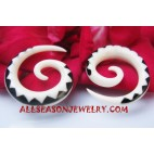 fake gauges bone piercing Tattoo Spiral Maori