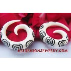 Earrings Tribals White Bone Spiral TattooFake Gauges
