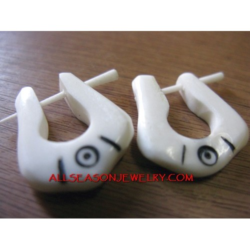 Hand Carved Bone Earrings Hand Carved Bone Piercing Carving Fake Gauge Ear Plugs
