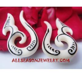 Tribal Bone Ear Tattoo Fake Gauge handmade Bali