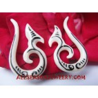 Tribal Earring Handmade White Bone Tattoo Fake Gauges