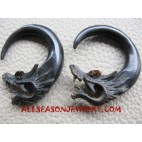 Carved Earring Tribal Ethnic Dragon Organic Horn Fake Gauge