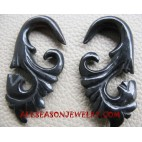 Carved Horn Earring Hand Carving Fake Gauges Ethnic Design