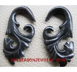 Carved Horn Earring Hand Carving Fake Gauges Ethnic Design
