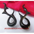 Fake Gauges Black Horn Earring Cuff Pierced Design