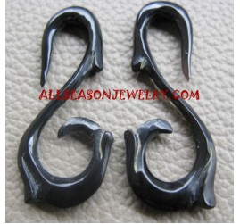Carving Fake Hook Earrings Black Horn Tribal Design