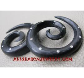 Fake Gauges Spiral Black Horn Tattoo Piercing Ears
