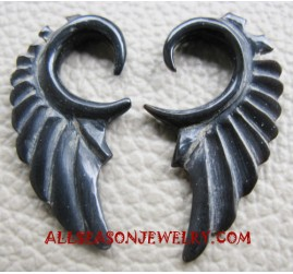 Eagle Hand Carved Black Horn Ears Piercing Fake Gauge