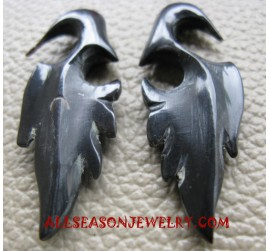 Flaminggo Design Fake Gauge Earring Horn Carvings