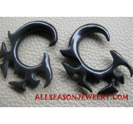 Earring Horn Tribal Carving Handmade Design