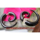 Earring Tribal Piercings Black Horn Split Fake Gauges Bali