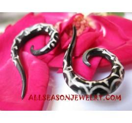 Ear Black Horn Tattoo Spiral Faux Gauges Tribal Piercing