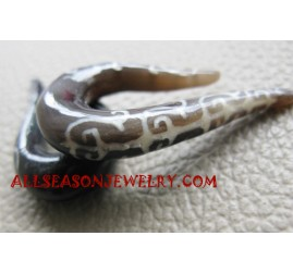 Brown Earring Horns Tribal Tattoo Fake Hook Handmade Tribal