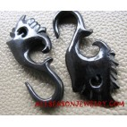 Hook Gauges Tribal Earrings Hand Carved Black Horn