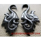 Hand Carved Tribal Black Horn Earring Fake Gauge