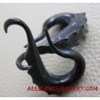 Ethnic Tribal Design Black Horn Earrings Carved