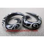 Spiral Horn Tattoo Faux Gauge Earrings Tribal Design