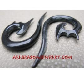 fake Hook black Horn Earrings hand acrved Piercing cheater